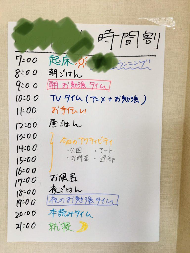 1日のスケジュール表
